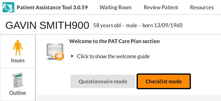 screenshot - checklist mode button